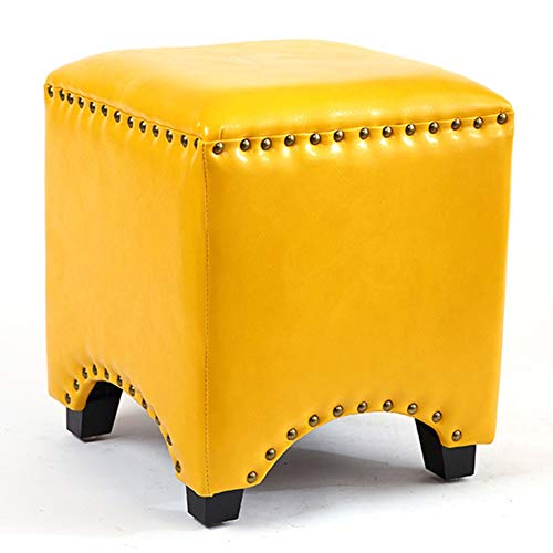 ZQXXX Faux Oil Wax Leather Handmade Footstool Foot Rest Makeup Dresser Sofa Tea Coffee Table Stool Pouffe Seat Ottoman Bench Chair (Square),Yellow