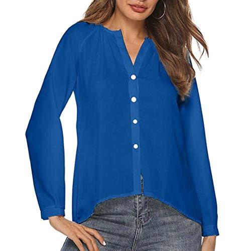 Chiffon In Per Con A Manica Allentati Blue Home Donna color Women Trasparente Irregolare Size Camicie Pieghettati Jewelry Raglan Claret Coat Xxs Bottoni q0BtwY6