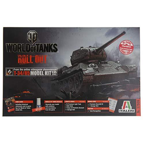 Italeri 37509 T34/85 New Edition World of Tank Series, 1/35 Scale Tank Model Kit - Includes in Game Bonus Code (Model Tanks 1 35 Scale)