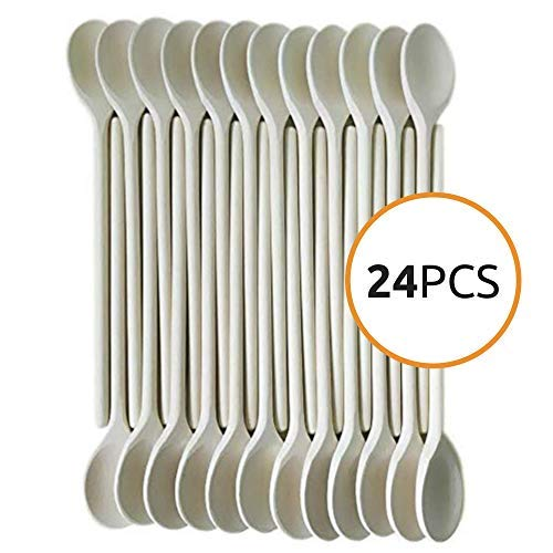 (12- Inch Wooden Kitchen Spoons Baking Mixing Serving Craft Utensils Bulk Oval Spoon Puppets Long Handle Beechwood - Set of 24 - MR. WOODWARE)