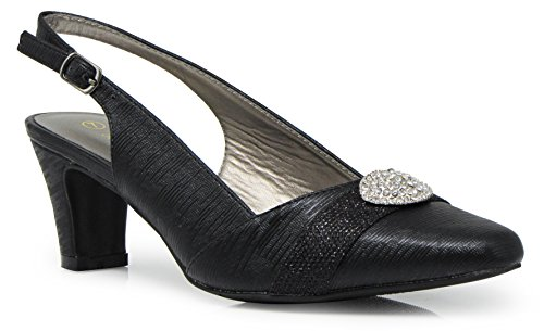 Enzo Romeo cambria02 Women's Wide Width Sling Back Low Heeled Pointy Pumps Sandals Shoes (6.5 Wide US, Black) ()