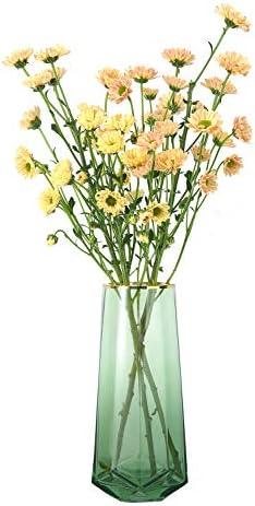 Luxspire Vaso in Vetro, Vasi da Fiori, Vaso da Arredamento Moderno, Vaso Decorazione per Casa, Contenitore per Fiori, Vaso di Fiori con Tono Oro, Vaso Ins Style per Ufficio Libreria Bar, Verde