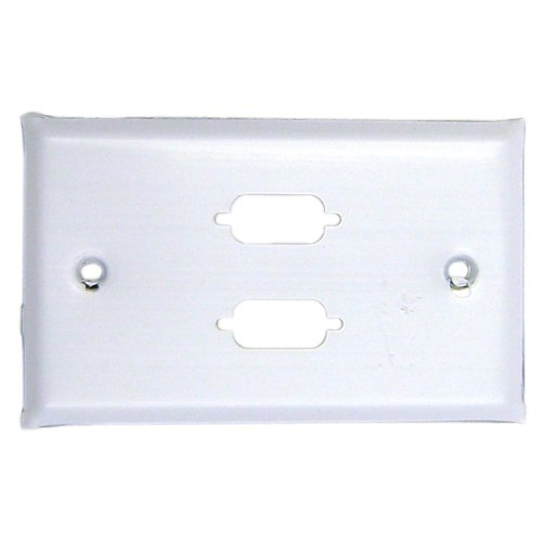 (CableWholesale Wall Plate, White, 2 Port DB9 / HD15 (VGA), Single Gang, Painted Stainless Steel)
