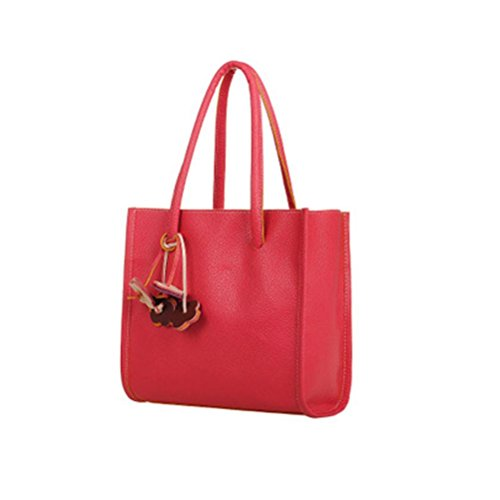 Price comparison product image VIASA Fashion Girls Handbags Leather Shoulder Bag Casual Bag Candy Color Flowers Totes (Red)