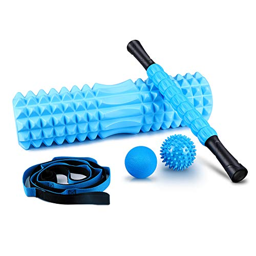 KeShi 5 in 1 Foam Roller Set Includes Muscle Foam Roller, Massage Roller Stick, Solid Ball, Spiky Massage Ball and Stretching Strap, Perfect for Pain & Tightness Relief Home Gym Set
