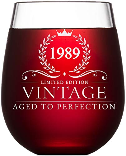 (30th Birthday Gifts for Women and Men Turning 30 Years Old- 15 oz. Vintage 1989 Wine Glass - Funny Thirtieth Gift Ideas, Party Decorations and Supplies for Him or Her, Husband, Wife, Mom, Dad)