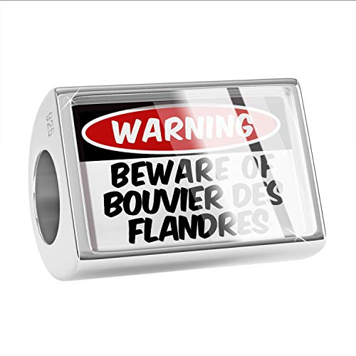 NEONBLOND Charm Beware of The Bouvier des Flandres Dog from Belgium 925 Sterling Silver Bead ()