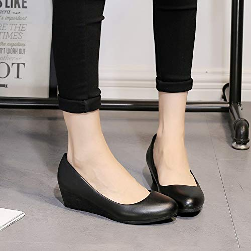 china superficiale testa tacco rotonda antiscivolo trentotto scarpe 4cm black KOKQSX bocca qF41Wwtn
