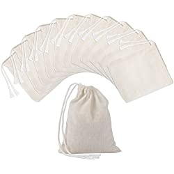 Pangda 100 Pieces Drawstring Cotton Bags Muslin Bags (4 x 3 inches)