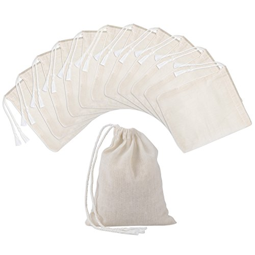 Pangda 100 Pieces Drawstring Cotton Bags Muslin Bags, 4 By 3 Inches