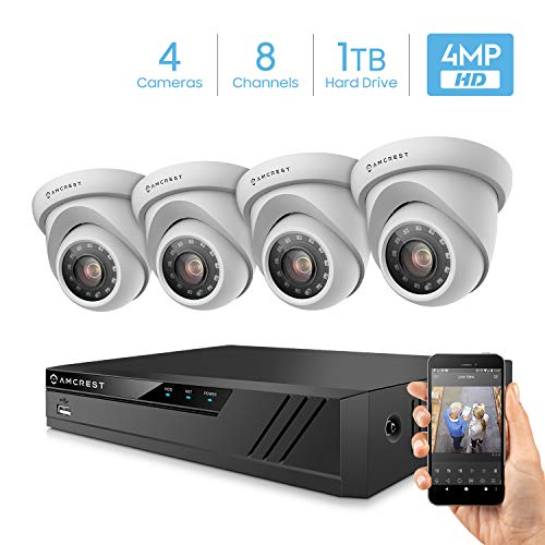 Amcrest UltraHD 4-Megapixel 8CH Video Security System with Four 4.0MP Outdoor IP67 Dome Cameras, 98ft Night Vision, 100° Viewing Angle, Pre-Installed 1TB Hard Drive, (AMDV40M4-4D-W) White
