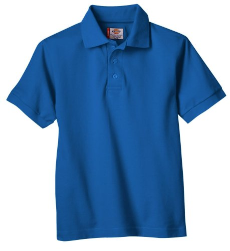 Dickies Big Boys' Short Sleeve Pique Polo Shirt, Royal Blue, (Dickies Cotton Polo Shirt)