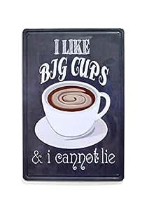 "NaCraftTH [ I Like Big Cups Coffee Metal Iron Tin Sign Retro Vintage Wall Art Hanging Restaurant Cafe Home Decor, 8""x12"" 8"" x 12"" Black"