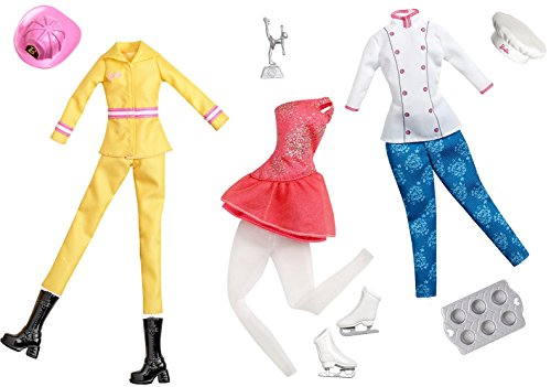 Ice Pastry (Barbie Doll Ice Skater - Fire Fighter - Pastry Chef Careers Fashion Accessory Pack Clothing Toy Set)