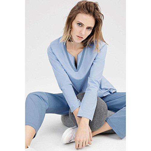HXQ Pijama para Mujer Manga larga 100% algodón Blue