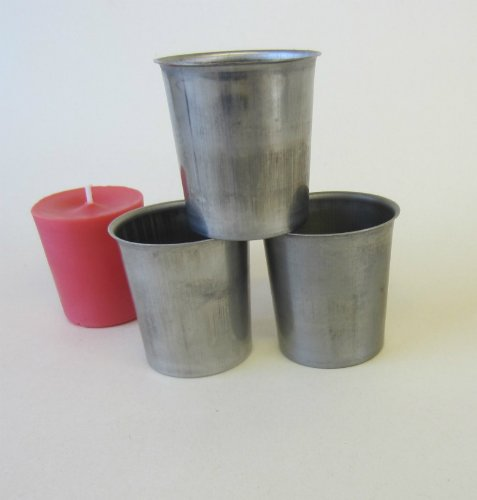 3 x 15 Hour Metal Votive Candle Making Moulds approx 50mm x 50mm whicksnwhacks