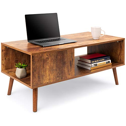 Best Choice Products Wooden Mid-Century Modern Coffee Table, Accent Furniture for Living Room, Indoor, Home Décor w/Open…