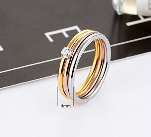 Bishilin Stainless Steel Champagne Crystal Wedding Rings And Bands For Women Size 8