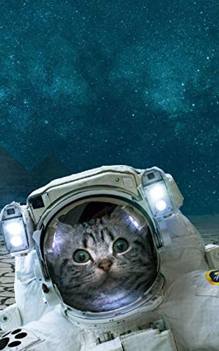 Notebook: Cat Animal Fantasy Space Pyramids Gizeh Astronaut Cats Science 5' x 8' 150 Ruled Pages