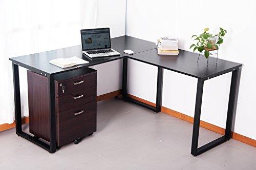 office study desk. Merax L-Shaped Office Workstation Computer Desk Corner Home Wood Laptop Table Study (Black)