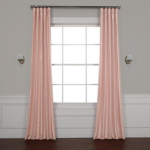 Half Price Drapes Ptch-BO180301-120 Blackout Faux Silk Taffeta Curtain, 50 x 120, Salmon (Synthetic Rose)