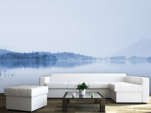 Large Wall Mural Peaceful Lake and Mountains in the Fog Vinyl Wallpaper Removable Wall Decor