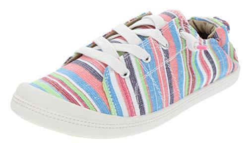 Rampage Women's Grateful Comfortable Slip On Sneaker Shoe with No-Tie Laces and Cute Design 9 Beach Multi Stripe