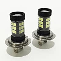(Pack of 2) H7 6000K Xenon White Bright Chip 57 LED Headlight Bulb, High Performance Halogen Replacement Low Beam