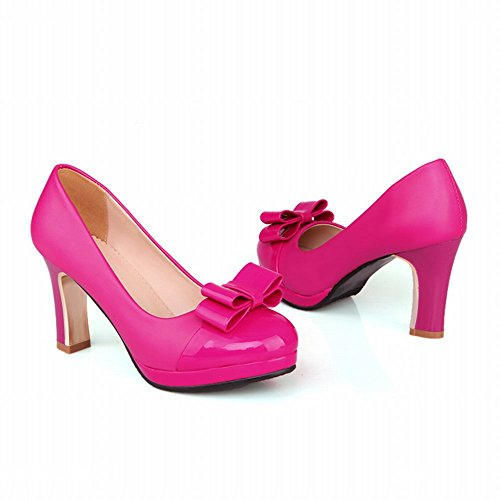 Carol Zapatos Chic Mujeres Bowknots Cuff Plataforma Con Encanto High Chunky Heel Dress Bombas Zapatos Rose Red