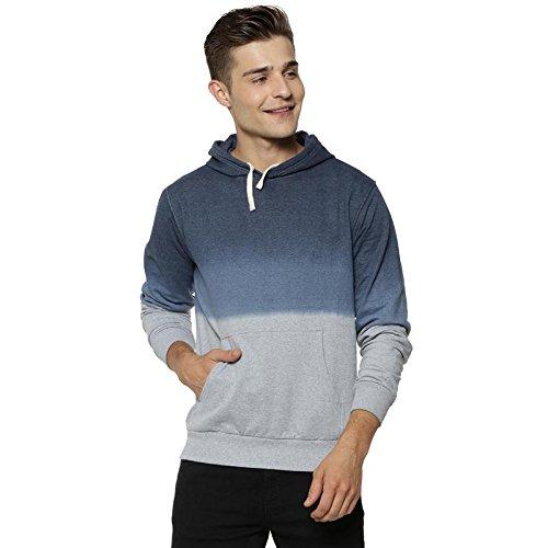 1c838ef7 Campus Sutra Men's Cotton Full Sleeve Sweatshirt (Denim Blue and Grey,  Small)