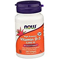 Foods Supplements, Vitamin D-3 2,000 IU, High Potency, Structural Support, 240 Softgels .240 Count (Pack of 1)