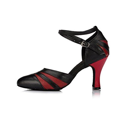 Ankle Salsa Dancing Latin Strap Tango Leather Miyoopark Pumps Black Ballroom Red 8cm Heel Dance Women's Shoes Sw0pRqFxg5