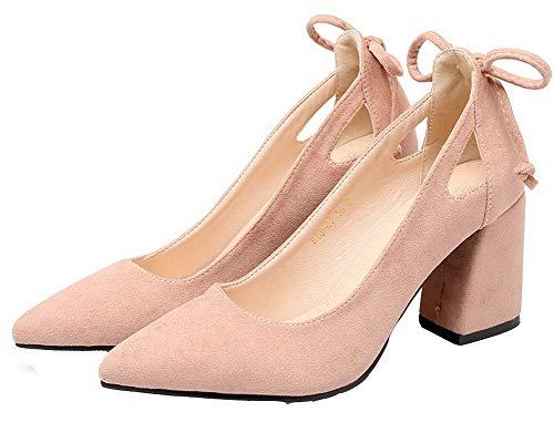 Päälle Pumput Toe Amgdx006897 Himmeä Solid Naisten Suljetun Vaaleanpunainen Korkokenkiä Weenfashion Vedettävä kengät 6AwZ5BSqx