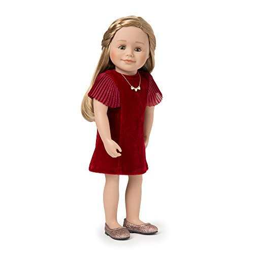Maplelea Sparkle On Velvet Party Dress with Necklace Outfit for 18