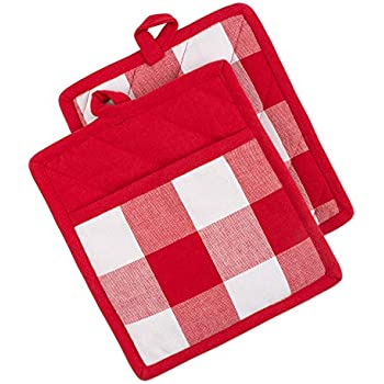 DII Buffalo Check Kitchen Collection, Potholders, Red & White 2 Piece