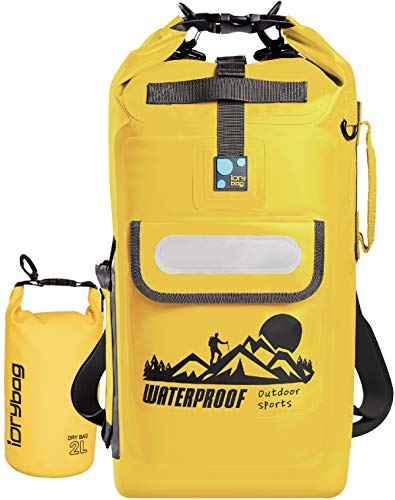 IDRYBAG Roll Top Dry Bag Backpack Waterproof Dry Bag Pack Sack, Dry Backpack Waterproof Padded Straps 20L Yellow