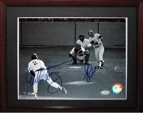 - Bucky Dent and Mike Torrez Signed Steiner B & W Framed Photo-11x14