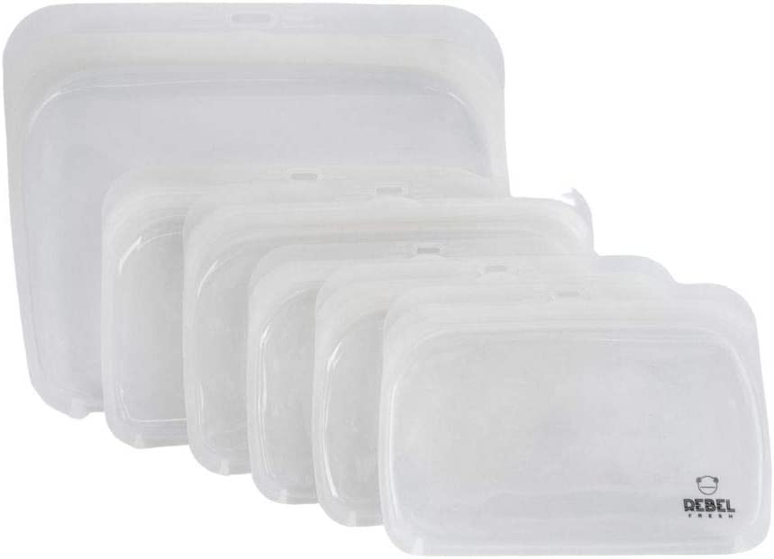REBEL FRESH Reusable Food-Grade Silicone Storage Bags, Dishwasher, Microwave, Sous Vide, Freezer and Oven Safe. 6 Pcs. Airtight Ziplock Bags. Kitchen Storage Solution. White