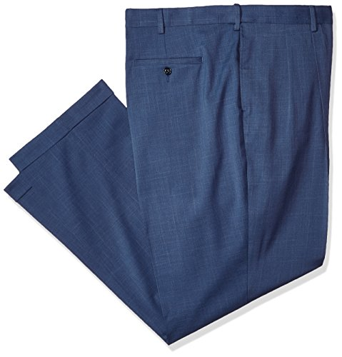 Savane Men's Big and Tall Pleated Stretch Crosshatch Dress Pant, Vintage Indigo, 48W x 30L