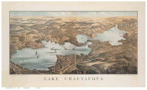 Lake Chautauqua - 1885 Birds Eye View - New York - Reprint