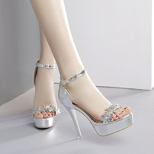 Summer Silver With Women'S Heel Waterproof Shoes Super Silvery KPHY Four Sandals Flower Shoes Nightclub 12Cm Thirty Word Platform And High Sexy Fine Xwda0dx7q