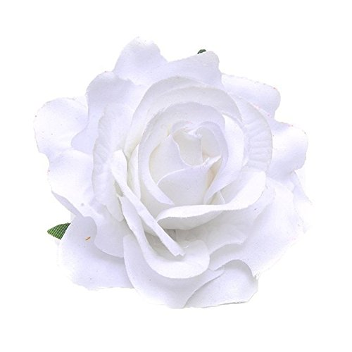 Rose Flower Hair Clips Flower Brooch Pin Hairpin for Women NFJ03 (White) ()