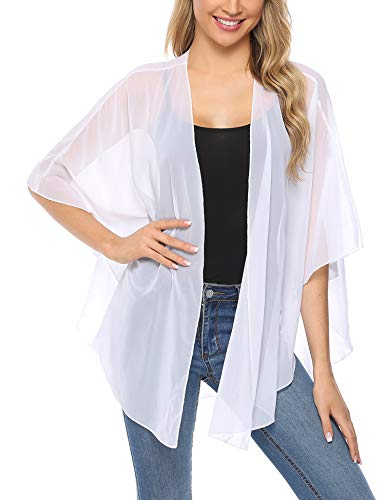 (iClosam Women Lightweight Chiffon Cover Up Sheer Kimono Short Sleeve Cardigan Beach Cover Up (White, XX-Large))