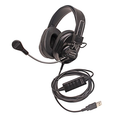 Califone Deluxe 3066USBBK Wired Headset Full Size, Black (3066USB-BK), Adjustable
