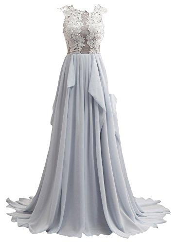 Kleider elegant Abendkleider Damen ballkleider Lang Chiffon Changjie Blau Party Eq5Ax07ww