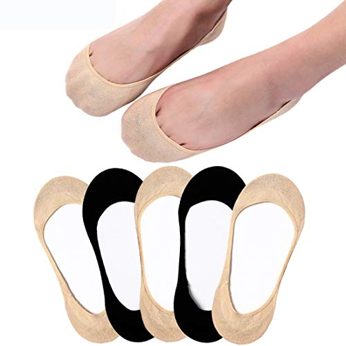 (Ultra Low Cut Liner Socks Women No Show Non Slip Hidden Invisible for Flats Boat Summer 5 Pairs)