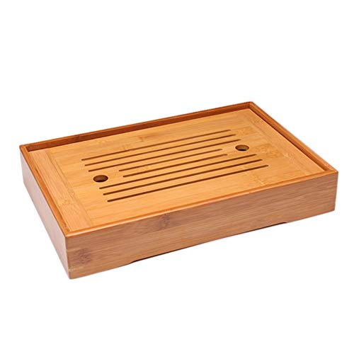 Reservoir Type Bamboo Tea Tray,Chinese Kungfu Tea Table Serving Tray Box for Kungfu Tea Set,Rectangle,14.2