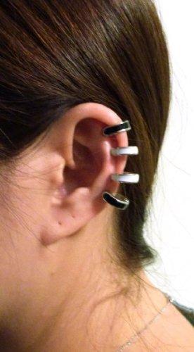 Coffre d'oreille magnétique à quatre anneaux de ton or, blanc et noir