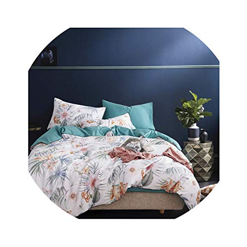 HANBINGPO Leaf Floral Birds Duvet Cover Set Shabby Navy Blue Egyptian Cotton Bed Sheet 4 Pieces Bedding Set with Hidden Zipper Pillow sham,Bedding Set 12,King Size 4pcs,Bed Sheet Style]()