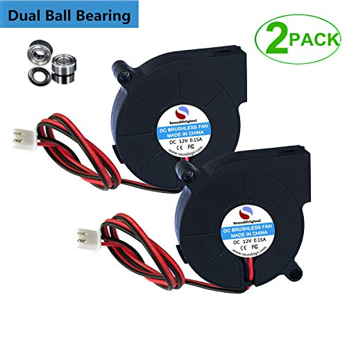 SoundOriginal 12V DC Brushless Blower Cooling Fan 50x50x15mm,for 3D Printer Humidifier Aromatherapy and Other Small Appliances Series Repair Replacement (12v Dual Ball Bearing 2pack)